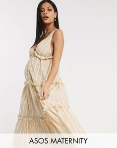 Buy ASOS DESIGN Maternity button front tiered midi sundress in stripe print at ASOS. Get the latest trends with ASOS now. Pinny Dress, Midi Sundress, Midi Shirt Dress, Long Sleeve Midi Dress, Sundresses, Maternity Mini Dresses, Cheap Maternity Clothes, Asos Maternity, Midi Wrap Skirt