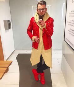 #rattan Cardigan by @lukascuninka on stock.  www.thegentlemensclo.com Red Leather, Leather Jacket, Rattan, Blazer, Jackets, Men, Fashion, Studded Leather Jacket, Wicker