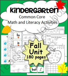 Kindergarten Fall ELA & Math Unit - Common Core Aligned from Fun Classroom Creations on TeachersNotebook.com -  (180 pages)  - This is a 180 page Fall Math and Literacy Unit aligned to the Common Core Standards.