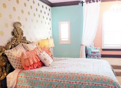 Mint, Coral and Gold Big Girl's Room from @Caden Lane - we love the gold polka dot accent wall!