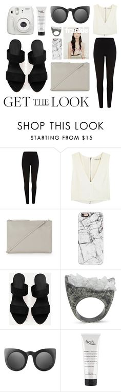 """""""Get the Look: Airport Style"""" by eva-jez ❤ liked on Polyvore featuring River Island, Alice + Olivia, Warehouse, Casetify, Burcu Okut, Topshop, philosophy, Fujifilm, GetTheLook and airportstyle"""