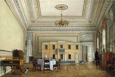 Interiors of the Winter Palace. The Nursery of Nicholas II's Daughters, Maria, Olga and Alexandra - Konstantin Andreyevich Ukhtomsky - Drawings, Prints and Painting from Hermitage Museum Romanov Palace, House Of Romanov, Imperial Palace, Imperial Russia, Palazzo, Palace Interior, Watercolor Architecture, Winter Palace, Hermitage Museum