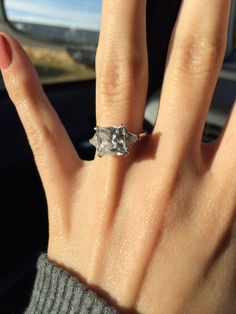 2 Carat Princess Cut 0 5 Triangle Side Stones 3 Total Trilogy In