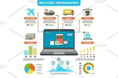 Cargo logistics and production delivery vector infographic mockup. Graphic Design Infographics