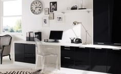 Designer  This sleek designed home office furniture gives you 3 frame colours in beech, white or walnut that can be complimented by a range of gloss colours.  This range is available in the following finishes, click the thumbnails for more detail.
