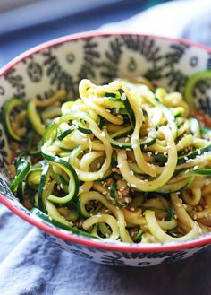 These Sesame Zoodles are SO super easy…can be whipped up in minutes and are low carb! Perfect for lunch or a light dinner! Low Carb Recipes, Vegetarian Recipes, Cooking Recipes, Healthy Recipes, Yummy Recipes, Free Recipes, Vegetable Sides, Vegetable Recipes, Clean Eating