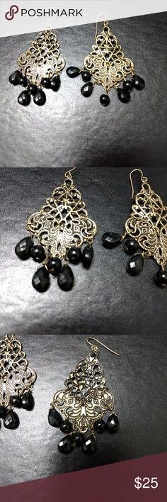 *Sale* Gold tone earrings w black dangling beads Chandelier earrings with black beads Jewelry Earrings