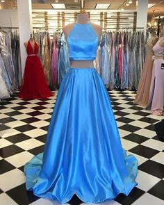 Sky blue satin two pieces O neck strapless long homecoming dress, prom dress from QPromdress Homecoming Dresses Long, Pretty Prom Dresses, Elegant Prom Dresses, Best Prom Dresses, Prom Dresses Blue, Day Dresses, Cute Dresses, Short Dresses, Dress Prom