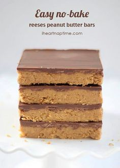 Peanutbutter no bake bars  Reeses peanut butter no-bake bars -   Ingredients  1 cup salted butter (melted)  ... 2 cups keebler graham cracker crumbs  1/4 cup brown sugar  1 3/4 cup powdered sugar  1 cup peanut butter  1/2 tsp. vanilla  1 (11 oz) bag milk chocolate chips