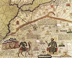 Map of the ancient empire of Mali, featuring Emperor Mansa Musa (right-hand side), 1375