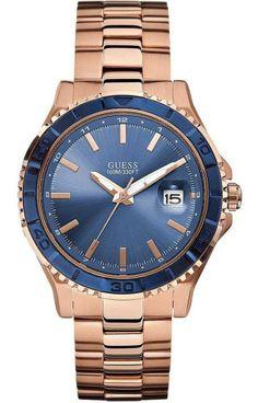 4e2e209a7c GUESS U0244G3 New Men s Blue Dial Rose Gold-Tone Stainless Steel Quartz  Watch
