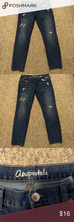 Aeropostale Kylie jeans size 10 Aeropostale Kylie Boyfriend jeans dark wash.  Some spots on back left leg shown in pics size 10 Aeropostale Jeans Boyfriend