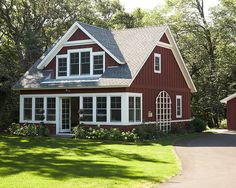I love how dark this red is. Its like classic 'barn red' but with an updated feel.  Spaces RED DOOR GREY WHITE Design, Pictures, Remodel, Decor and Ideas - page 16