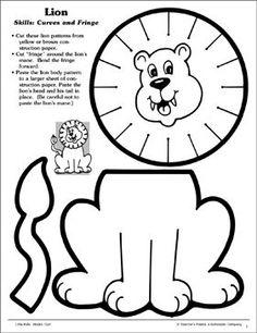 Lion (Curves and Fringe): Scissor Skills - Printable Worksheet
