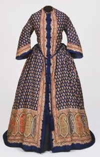 Woman's Dressing Gown (Morning Dress)  Made in United States, North and Central America    c. 1850   #fashion Artist/maker unknown, American    Printed wool