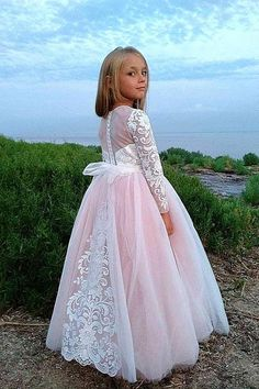 Pink fairy style Princess Girl Dress Birthday Bridesmaid Party