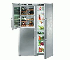 Absolutely amazing idea for a fridge. Built in wine cooler! - Liebherr Side-by-Side Wine Cooler Fridge Freezer, Stainless Steel Integrated Wine Cooler, Built In Wine Cooler, Wine Cooler Fridge, American Fridge Freezers, Long Term Storage, Large Shelves, Wine Cabinets, Side, French Door Refrigerator