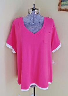 NWT Women's Plus Size 1X Shirt Blouse Top Pink White Fashion Bug   eBay