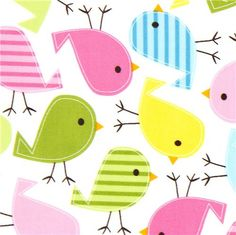 white fabric with colourful birds Robert Kaufman kawaii 1