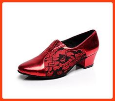 Minitoo TQJ3002 Women s Slip-on Red Lace Tango Latin Ballroom Dance Shoes  Evening Prom Pumps 022d28e85
