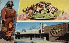 Louis Pappas Famous Riverside Restaurant and Cocktail Lounge - Tarpon Springs, Florida Riverside Restaurant, Seafood Restaurant, Retro Recipes, Great Recipes, Best Greek Salad, Pan Fried Shrimp, Restaurant Advertising, Pie Shop, Tarpon Springs