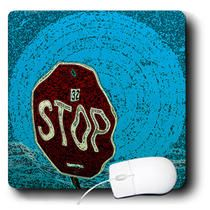 3dRose - Jos Fauxtographee Realistic - A STOP Sign in a wiggly poster of red and blue - Mouse Pads