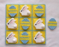 Tic-Tac-Toe Game Bunnies and Eggs Light Blue and by gailscrafts Plastic Canvas Letters, Plastic Canvas Stitches, Plastic Canvas Crafts, Yarn Crafts, Fabric Crafts, Canvas Patterns, Art Patterns, Tent Stitch, 4 Ply Yarn