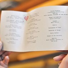 Sharon made the heart-stamped programs herself. Courtesy of A Girl in Love Photography