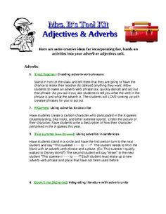 "This is the first two pages of a product called ""Adjective and Adverb Ideas- Creative"