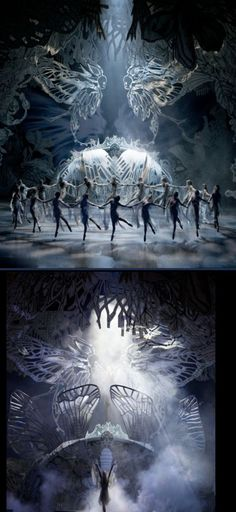 {Mia Stensgaard  SCENOGRAPHY AND COSTUMES , A FOLKTALE, DIRECTOR NIKOLAJ HÜBBE,LIGHT DESIGN MIKKI KUNTTU, ROYAL DANISH BALLET 2011} - The Intricacies within this set paired with the atmospheric lighting is awe-inspiring.