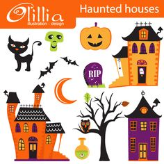 Haunted houses -14 fabulous haunted graphics for your Halloween crafts and creative projects.