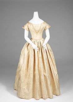 Wedding dress | American | 1845 | silk |  Brooklyn Museum Costume Collection at The Metropolitan Museum of Art | Accession Number: 2009.300.920a, b