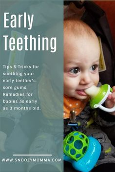 Tips for helping your early teether. Early teething // early teething signs // early teething remedies // early teething baby // early teething baby tips Teething Baby 3 Months, Baby Teething Chart, Early Teething, Baby Teething Symptoms, Baby Teething Remedies, Natural Teething Remedies, Signs Baby Is Teething, Bebe, Women Health