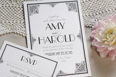Great Gatsby Art Deco Wedding Invitation, Modern Vintage Invite, Black Tie…