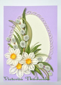 Easter Quilling Card - Easter Day quilling Card - Violet Easter egg quilling…