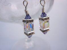 Swarovski Drop Earrings AB Amethyst Crystal by everydayapromise, $40.00