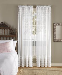 "Product: Lilly SHEER Rod Pocket Curtain 84"" long Comforter Bedspreads Shee"