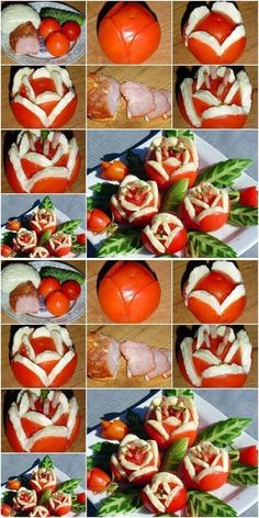 """Festive snack \""""Flowers\"""" from tomatoes with ham. Mini Appetizers, Holiday Appetizers, Holiday Recipes, Fruit And Vegetable Carving, Snack Recipes, Snacks, Food Trays, Food Decoration, Fruit Art"""