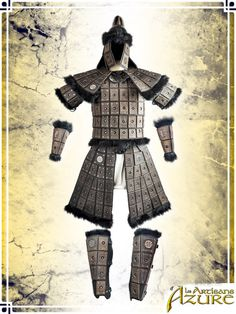 This armor was designed for a true warrior of the steppes. A leather brigandine reinforced with rivets, it combines the impressive appearance of a heavy armor while keeping an unbeatable comfort thanks to its modular torso allowing great mobility. Les Artisans, Pauldron, Leather Armor, Metal Engraving, Big Black, Skull Art, Larp, Cosplay, Soldiers