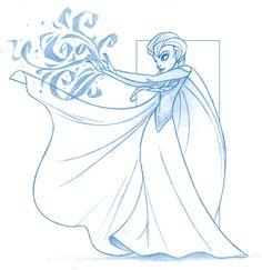 Elsa Frozen Disney Sketches   Disney's Frozen - Elsa the Snow Queen by KingOlie