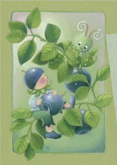 Blueberries by Kaarina Toivanen Blueberry Tree, Art Fantaisiste, Art Mignon, Art Carte, Creation Photo, Elves And Fairies, Funny Drawings, Pretty Images, Gif Animé