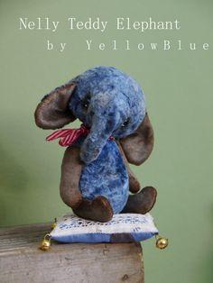 OOAK Artist Teddy Elephant Nelly /vintage by yellowbluestudio, $180.00