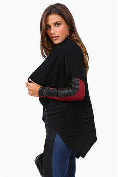Tee Wrap Sweater in Black