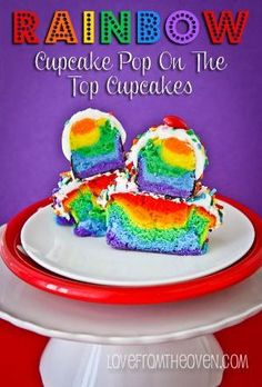Rainbow Cake Pop On The Top Cupcakes. These would be so fun for St. Patrick's Day! by darla