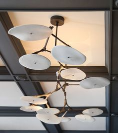 Lindsey Adelman's Branch Disk Fixture - over tub Pendant Light Fixtures, Light Fittings, Pendant Lighting, Cool Lighting, Modern Lighting, Lighting Design, Industrial Lighting, Lighting Ideas, Ceiling Lamp