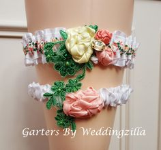 Flower Garden Wedding Garter Set White Peach by Weddingzilla