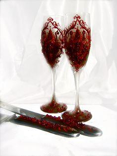 Valentines wedding cake serving set with blood red damask, cake knife set, cake accessories. $67.00, via Etsy.
