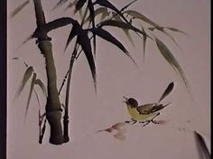 Bamboo and Bird - Chinese Brush Painting by Virginia Lloyd-Davies - Video Lessons of Drawing Painting Sumi E Painting, Japan Painting, Chinese Painting, Silk Painting, Chinese Brush, Chinese Art, Art Chinois, Tinta China, Art Japonais