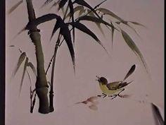 Bamboo and Bird - Chinese Brush Painting by Virginia Lloyd-Davies