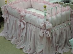 Items similar to Sheer Pink Washed Linen Ruffled Crib Bedding-OverSized Sash Ties-Storybook Crib Skirt-Ruffled Crib Blanket on Etsy Pink Crib Bedding, Baby Nursery Bedding, Nursery Room, Girl Nursery, Kids Bedroom, Crib Bed Skirt, Crib Skirts, Cot Sets, Vintage Crib